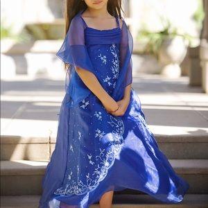NWT Royal Blue Beaded Organza Formal Dress